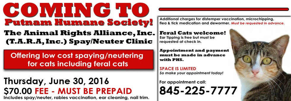 T.A.R.A. Low Cost Spay/Neuter Clinic for Cats coming to PHS!