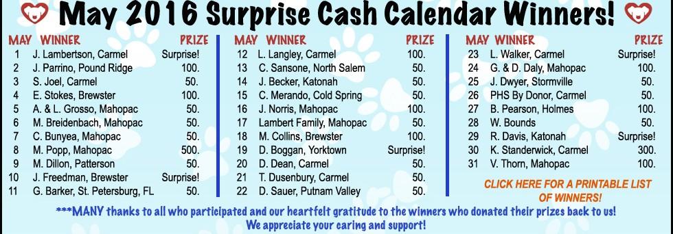 May, 2016 Cash Calendar Winners